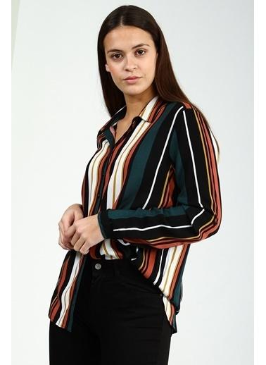 Collezione Mix Uzun Kollu Çizgili Kadın Gömlek Renkli